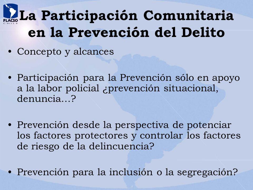 La Participación Comunitaria en la Prevención del Delito Concepto y alcances Participación para la Prevención sólo en apoyo a la labor policial ¿preve