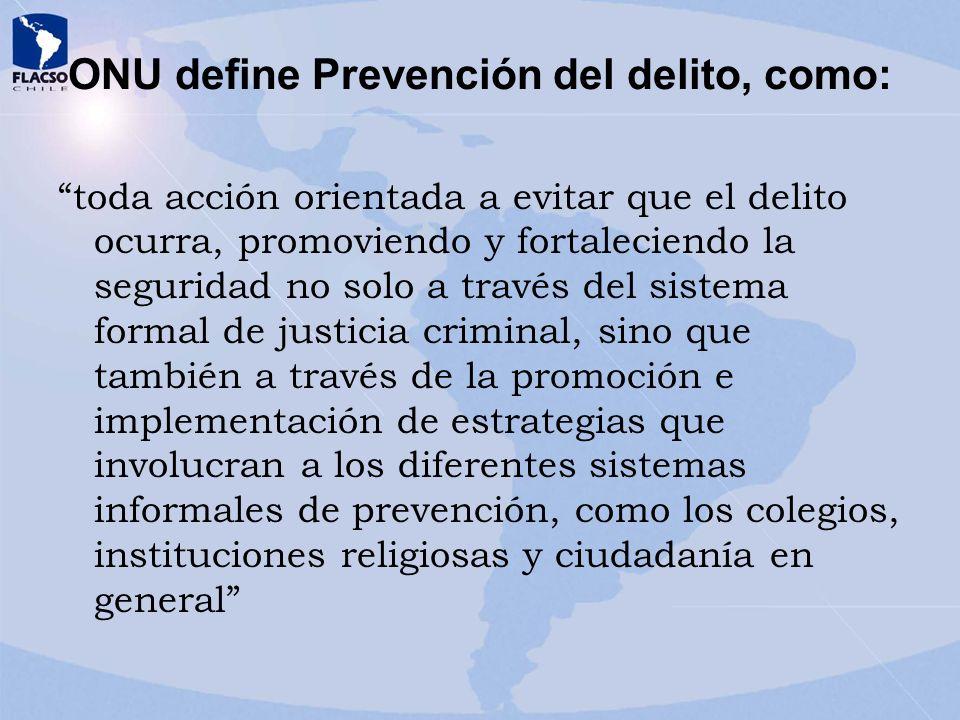 ONU define Prevención del delito, como: toda acción orientada a evitar que el delito ocurra, promoviendo y fortaleciendo la seguridad no solo a través