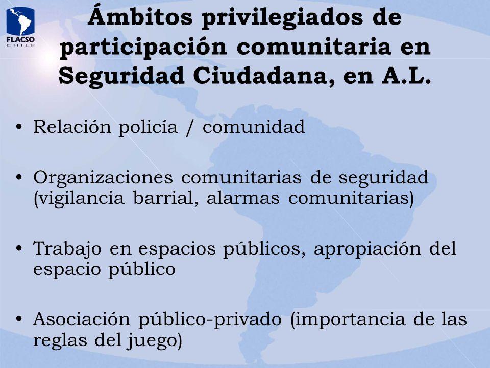 Ámbitos privilegiados de participación comunitaria en Seguridad Ciudadana, en A.L. Relación policía / comunidad Organizaciones comunitarias de segurid