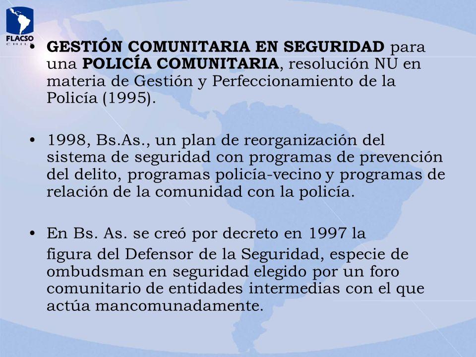 GESTIÓN COMUNITARIA EN SEGURIDAD para una POLICÍA COMUNITARIA, resolución NU en materia de Gestión y Perfeccionamiento de la Policía (1995). 1998, Bs.