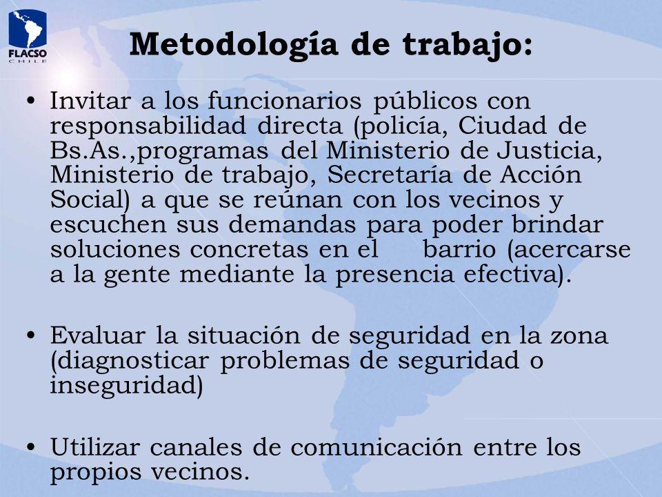 Metodología de trabajo: Invitar a los funcionarios públicos con responsabilidad directa (policía, Ciudad de Bs.As.,programas del Ministerio de Justici