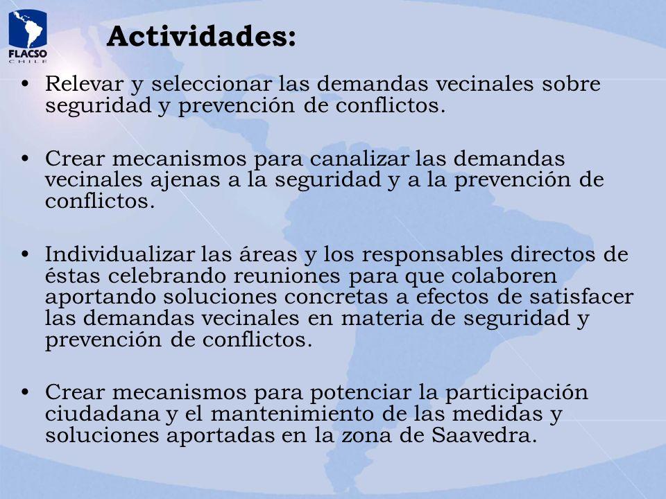 Actividades: Relevar y seleccionar las demandas vecinales sobre seguridad y prevención de conflictos. Crear mecanismos para canalizar las demandas vec