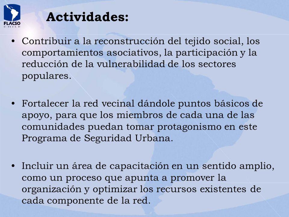 Actividades: Contribuir a la reconstrucción del tejido social, los comportamientos asociativos, la participación y la reducción de la vulnerabilidad d