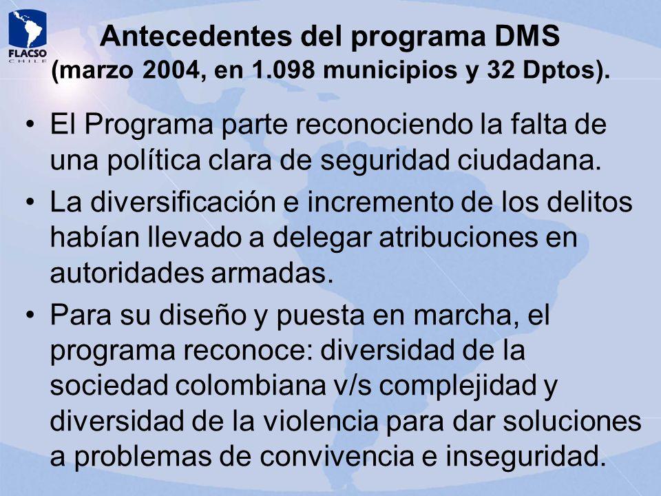 Antecedentes del programa DMS (marzo 2004, en 1.098 municipios y 32 Dptos). El Programa parte reconociendo la falta de una política clara de seguridad