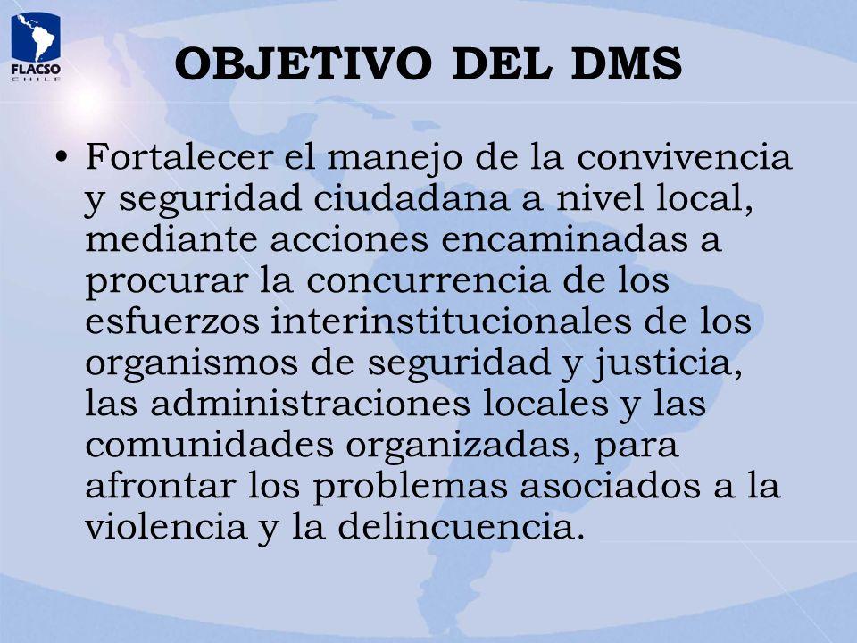 OBJETIVO DEL DMS Fortalecer el manejo de la convivencia y seguridad ciudadana a nivel local, mediante acciones encaminadas a procurar la concurrencia