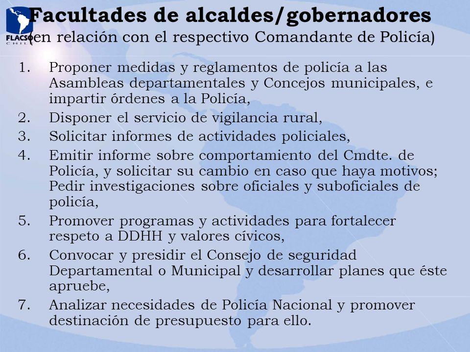 Facultades de alcaldes/gobernadores (en relación con el respectivo Comandante de Policía) 1.Proponer medidas y reglamentos de policía a las Asambleas