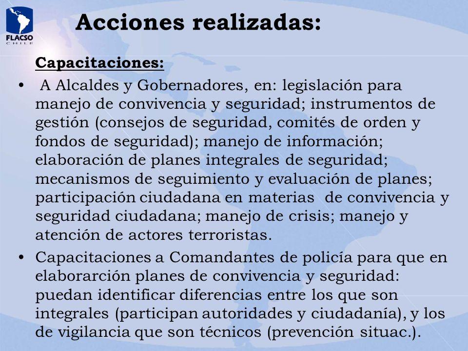 Acciones realizadas: Capacitaciones: A Alcaldes y Gobernadores, en: legislación para manejo de convivencia y seguridad; instrumentos de gestión (conse