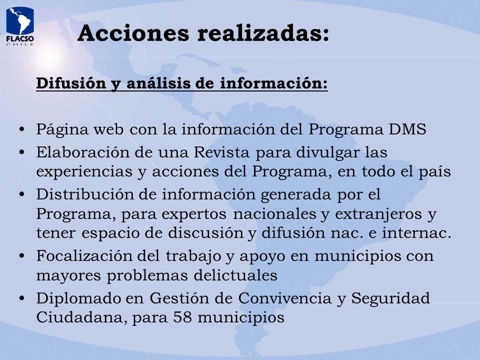 Acciones realizadas: Difusión y análisis de información: Página web con la información del Programa DMS Elaboración de una Revista para divulgar las e