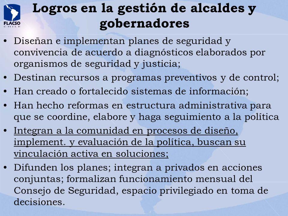 Logros en la gestión de alcaldes y gobernadores Diseñan e implementan planes de seguridad y convivencia de acuerdo a diagnósticos elaborados por organ