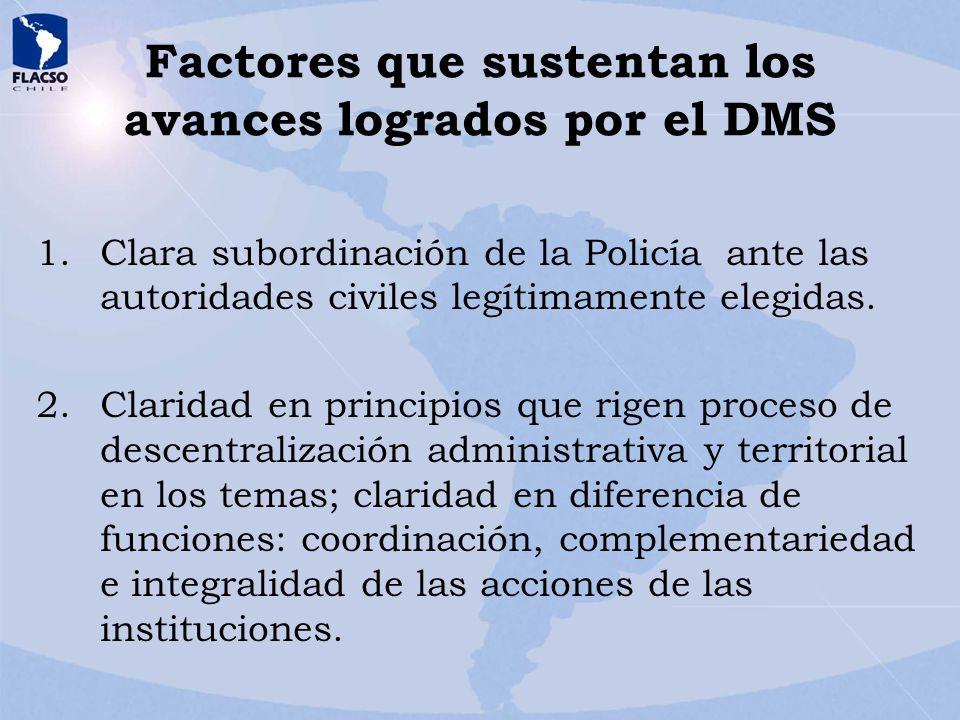 Factores que sustentan los avances logrados por el DMS 1.Clara subordinación de la Policía ante las autoridades civiles legítimamente elegidas. 2.Clar