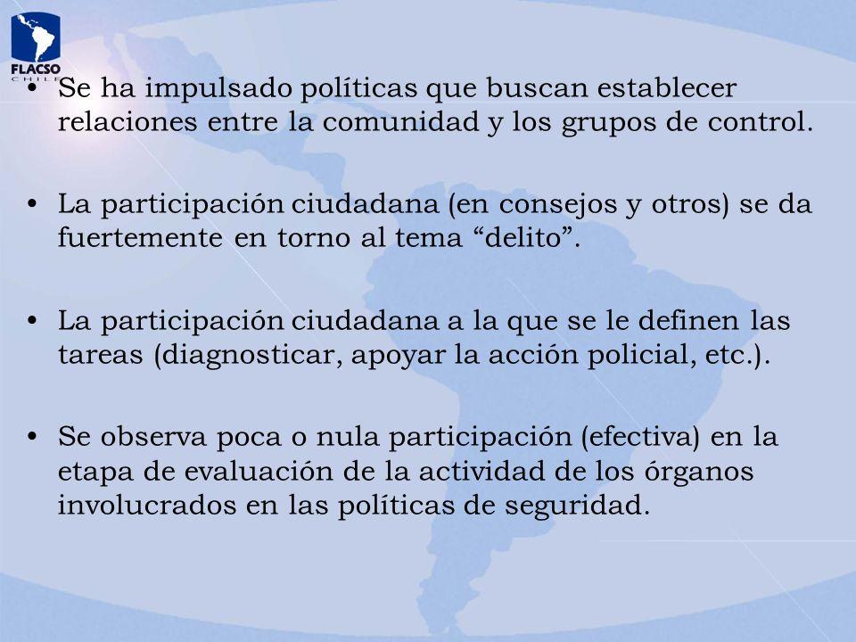 Se ha impulsado políticas que buscan establecer relaciones entre la comunidad y los grupos de control. La participación ciudadana (en consejos y otros