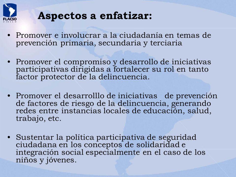 Aspectos a enfatizar: Promover e involucrar a la ciudadanía en temas de prevención primaria, secundaria y terciaria Promover el compromiso y desarroll