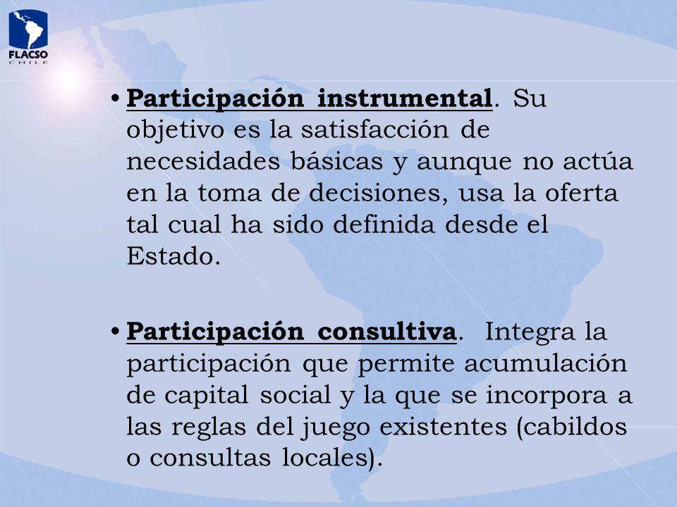 Participación instrumental. Su objetivo es la satisfacción de necesidades básicas y aunque no actúa en la toma de decisiones, usa la oferta tal cual h