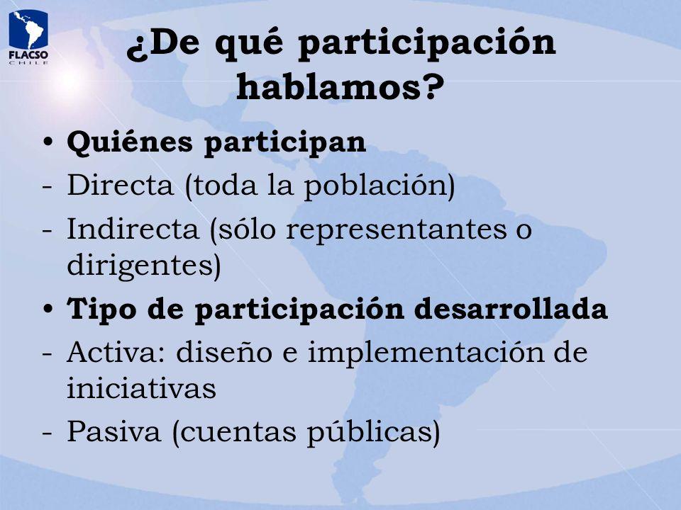 ¿De qué participación hablamos? Quiénes participan -Directa (toda la población) -Indirecta (sólo representantes o dirigentes) Tipo de participación de