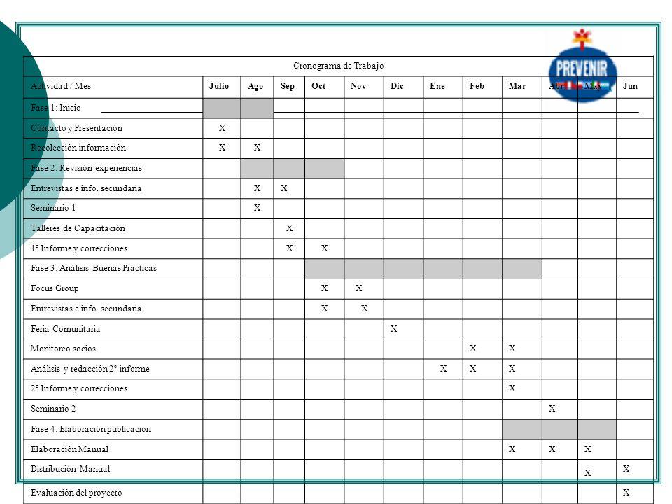 Cronograma de Trabajo Actividad / MesJulioAgoSepOctNovDicEneFebMarAbrMayJun Fase 1: Inicio Contacto y PresentaciónX Recolección informaciónXX Fase 2: Revisión experiencias Entrevistas e info.
