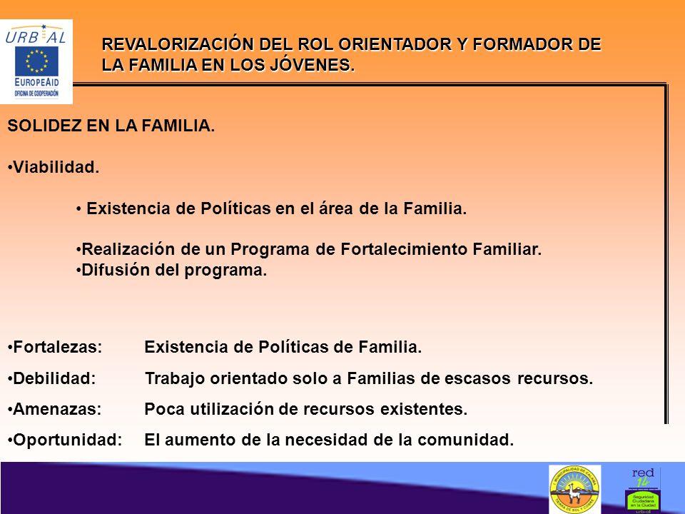 SOLIDEZ EN LA FAMILIA.Viabilidad. Existencia de Políticas en el área de la Familia.