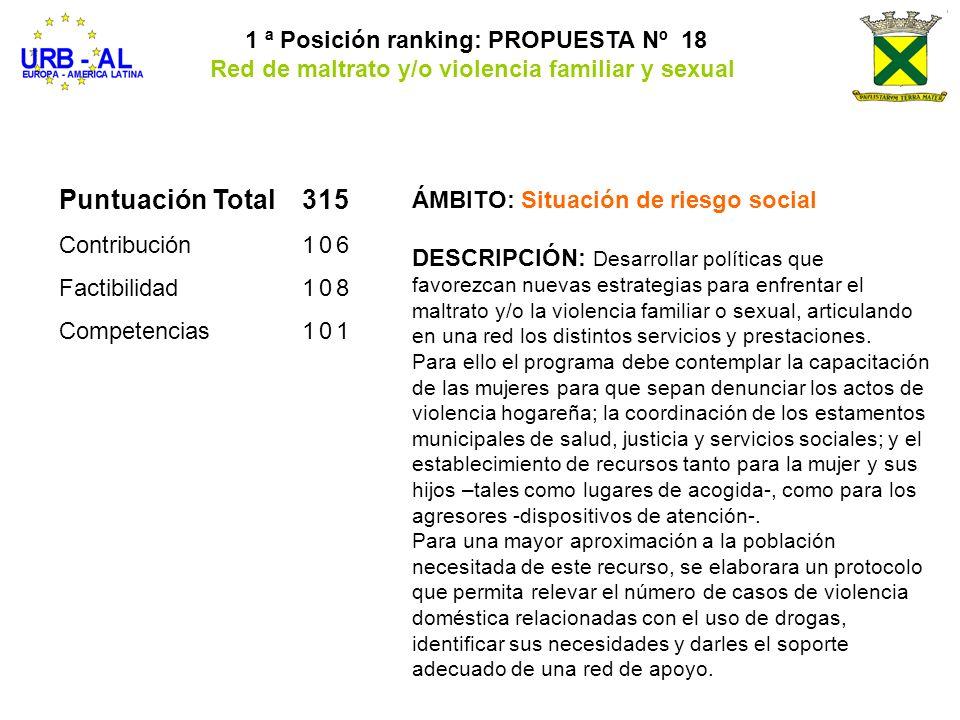 Puntuación Total315 Contribución106 Factibilidad108 Competencias101 1 ª Posición ranking: PROPUESTA Nº 18 Red de maltrato y/o violencia familiar y sex