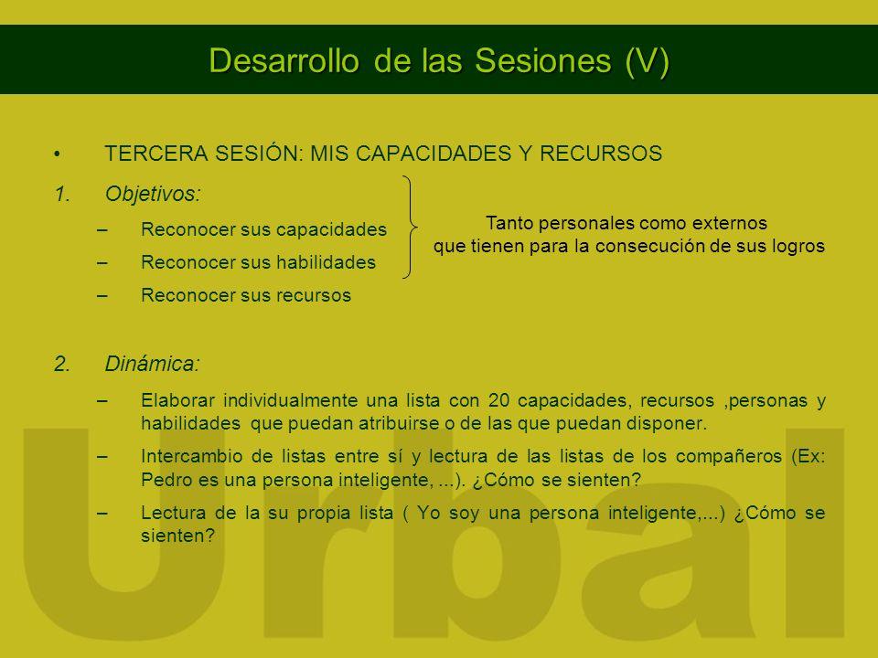 Desarrollo de las Sesiones (V) TERCERA SESIÓN: MIS CAPACIDADES Y RECURSOS 1.Objetivos: –Reconocer sus capacidades –Reconocer sus habilidades –Reconoce