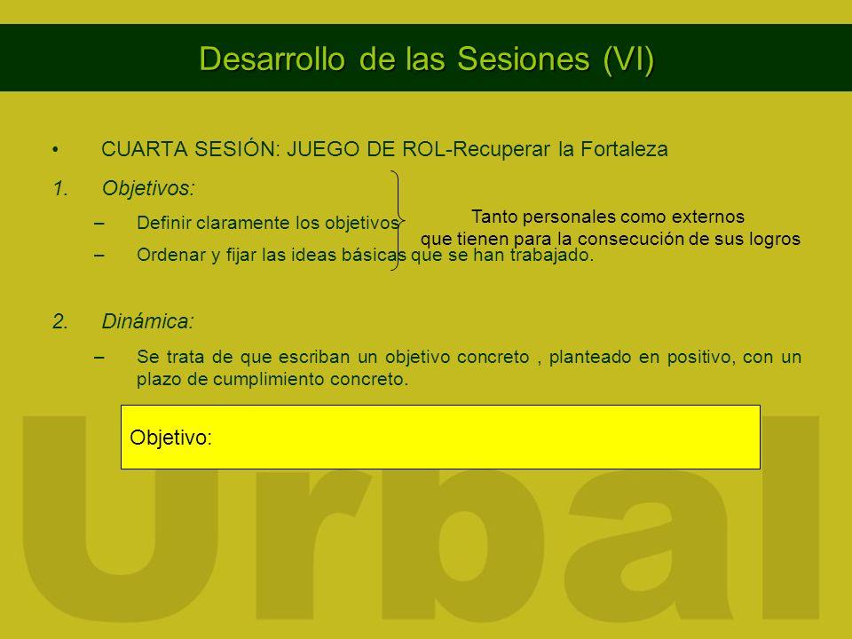 Desarrollo de las Sesiones (VI) CUARTA SESIÓN: JUEGO DE ROL-Recuperar la Fortaleza 1.Objetivos: –Definir claramente los objetivos –Ordenar y fijar las