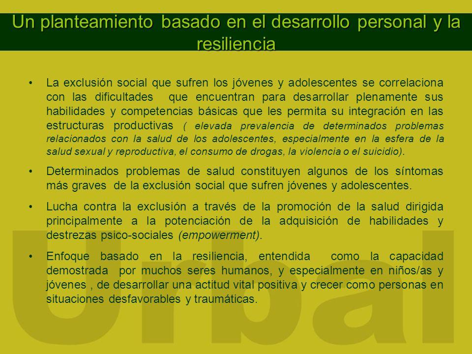 Un planteamiento basado en el desarrollo personal y la resiliencia La exclusión social que sufren los jóvenes y adolescentes se correlaciona con las d