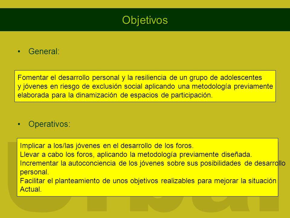 Objetivos General: Operativos: Fomentar el desarrollo personal y la resiliencia de un grupo de adolescentes y jóvenes en riesgo de exclusión social ap