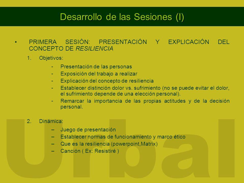 Desarrollo de las Sesiones (I) PRIMERA SESIÓN: PRESENTACIÓN Y EXPLICACIÓN DEL CONCEPTO DE RESILIENCIA 1.Objetivos: -Presentación de las personas -Expo