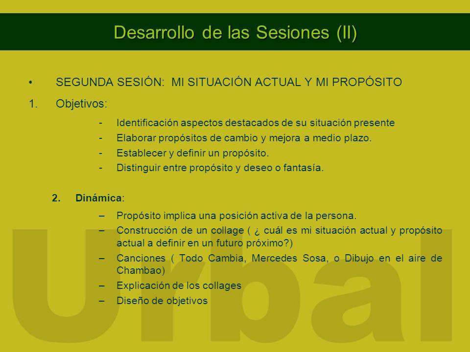 Desarrollo de las Sesiones (II) SEGUNDA SESIÓN: MI SITUACIÓN ACTUAL Y MI PROPÓSITO 1.Objetivos: -Identificación aspectos destacados de su situación pr
