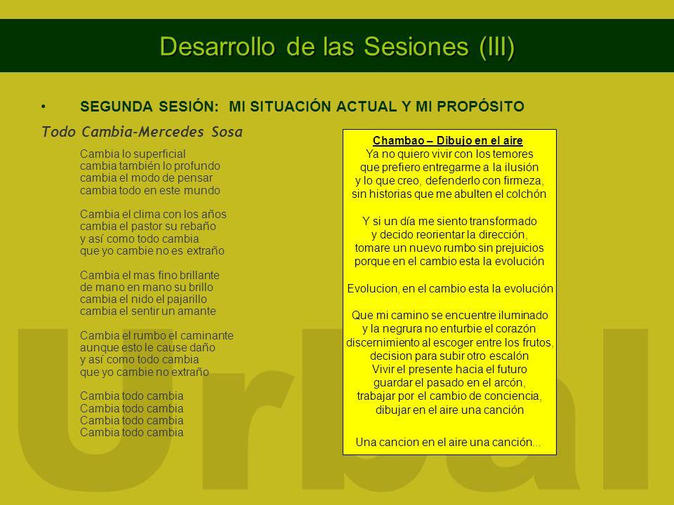 Desarrollo de las Sesiones (III) SEGUNDA SESIÓN: MI SITUACIÓN ACTUAL Y MI PROPÓSITO Todo Cambia-Mercedes Sosa Cambia lo superficial cambia también lo