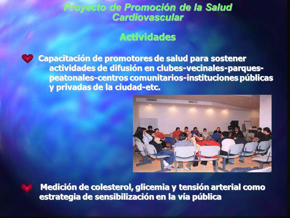 Actividades Convocatoria a un Consejo de Instituciones Proyecto de Promoción de la Salud Cardiovascular Sociedad Cardiológica de Rosario Sociedad de P