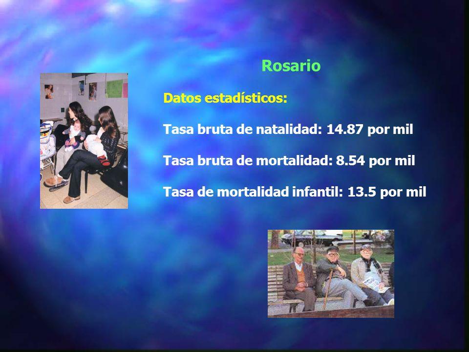Rosario Datos estadísticos: Tasa bruta de natalidad: 14.87 por mil Tasa bruta de mortalidad: 8.54 por mil Tasa de mortalidad infantil: 13.5 por mil