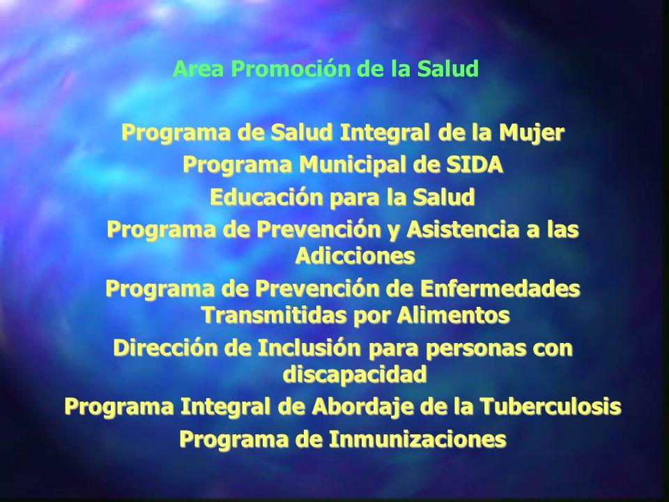 Area Promoción de la Salud Programa de Salud Integral de la Mujer Programa Municipal de SIDA Educación para la Salud Programa de Prevención y Asistencia a las Adicciones Programa de Prevención de Enfermedades Transmitidas por Alimentos Dirección de Inclusión para personas con discapacidad Programa Integral de Abordaje de la Tuberculosis Programa de Inmunizaciones