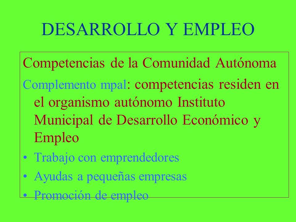DESARROLLO Y EMPLEO Competencias de la Comunidad Autónoma Complemento mpal : competencias residen en el organismo autónomo Instituto Municipal de Desarrollo Económico y Empleo Trabajo con emprendedores Ayudas a pequeñas empresas Promoción de empleo