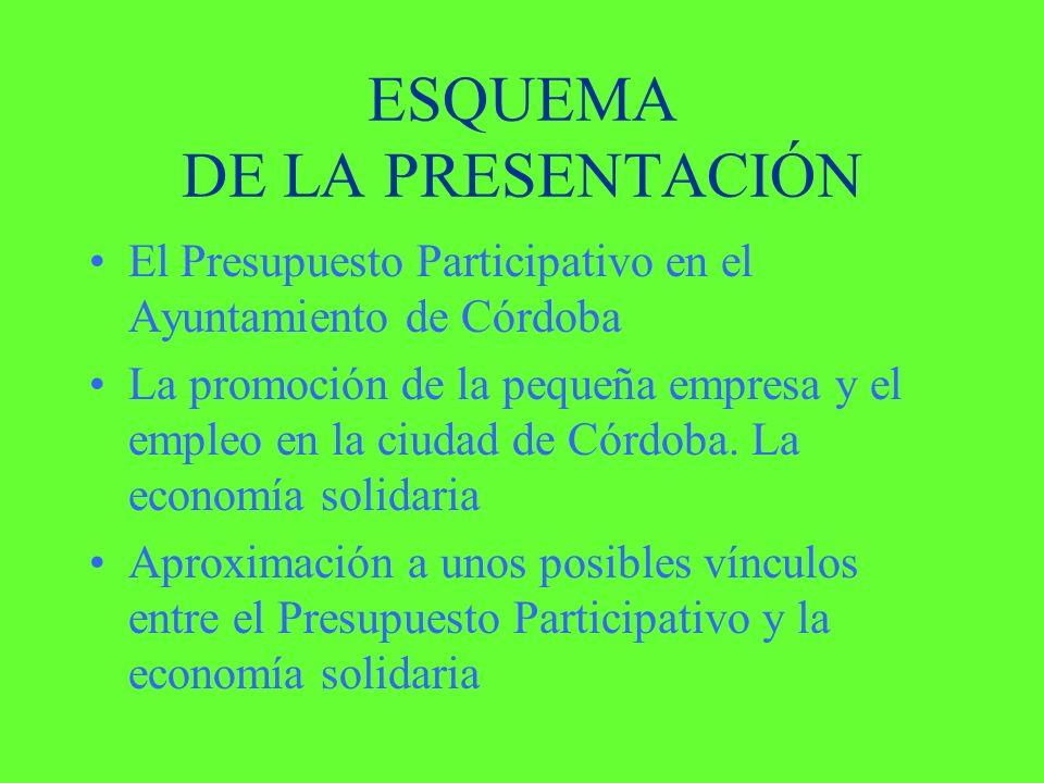 ESQUEMA DE LA PRESENTACIÓN El Presupuesto Participativo en el Ayuntamiento de Córdoba La promoción de la pequeña empresa y el empleo en la ciudad de Córdoba.