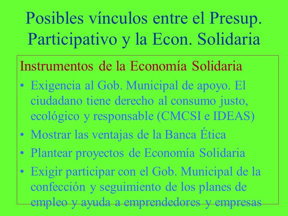 Posibles vínculos entre el Presup. Participativo y la Econ.