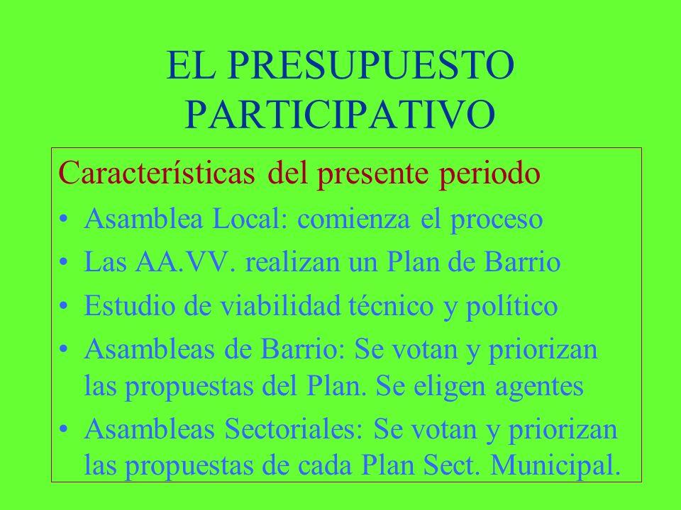 EL PRESUPUESTO PARTICIPATIVO Características del presente periodo Asamblea Local: comienza el proceso Las AA.VV.