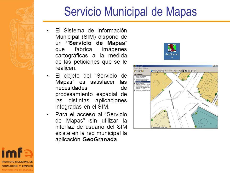 Servicio Municipal de Mapas El Sistema de Información Municipal (SIM) dispone de un Servicio de Mapas que fabrica imágenes cartográficas a la medida d