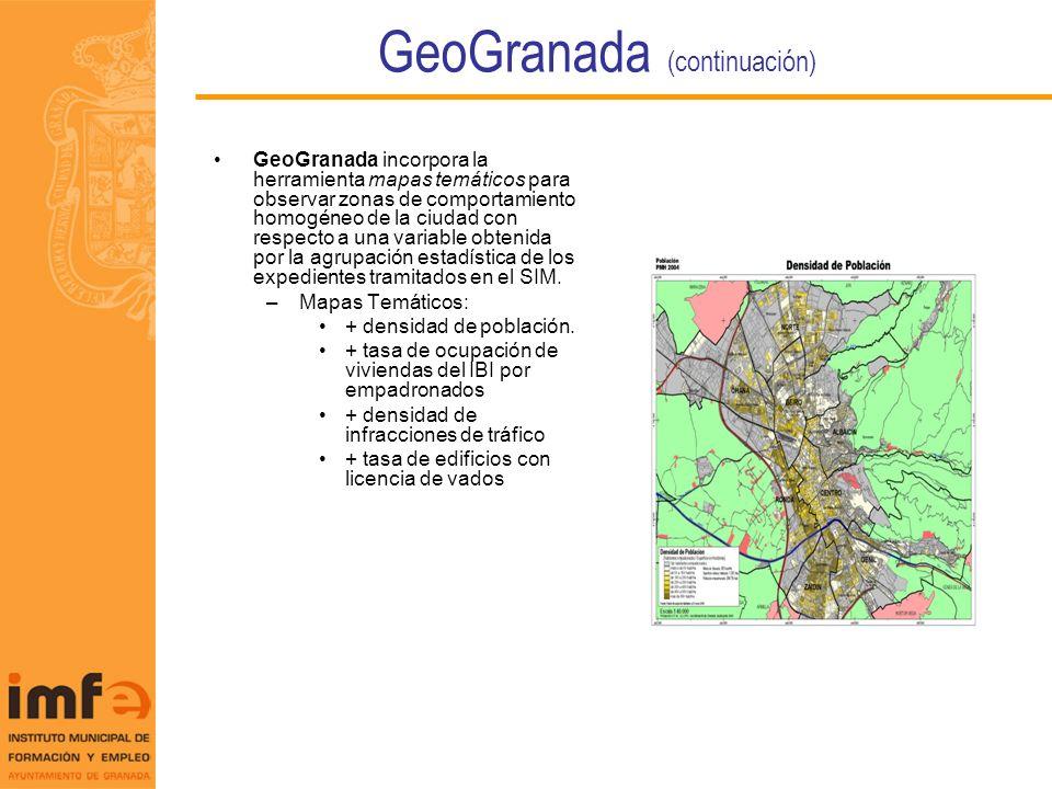 GeoGranada (continuación) GeoGranada incorpora la herramienta mapas temáticos para observar zonas de comportamiento homogéneo de la ciudad con respect