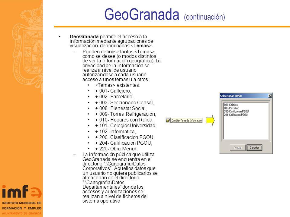 GeoGranada (continuación) GeoGranada permite el acceso a la información mediante agrupaciones de visualización denominadas. –Pueden definirse tantos c