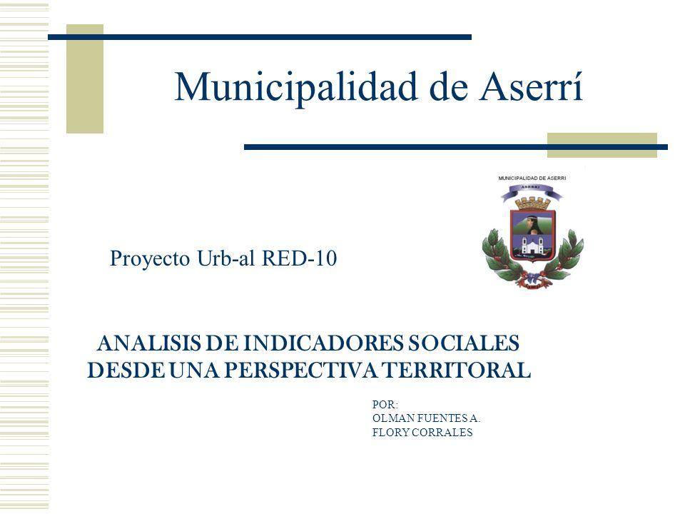 Municipalidad de Aserrí Proyecto Urb-al RED-10 ANALISIS DE INDICADORES SOCIALES DESDE UNA PERSPECTIVA TERRITORAL POR: OLMAN FUENTES A. FLORY CORRALES