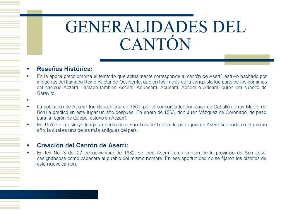 GENERALIDADES DEL CANTÓN Reseñas Histórica: En la época precolombina el territorio que actualmente corresponde al cantón de Aserrí, estuvo habitado po