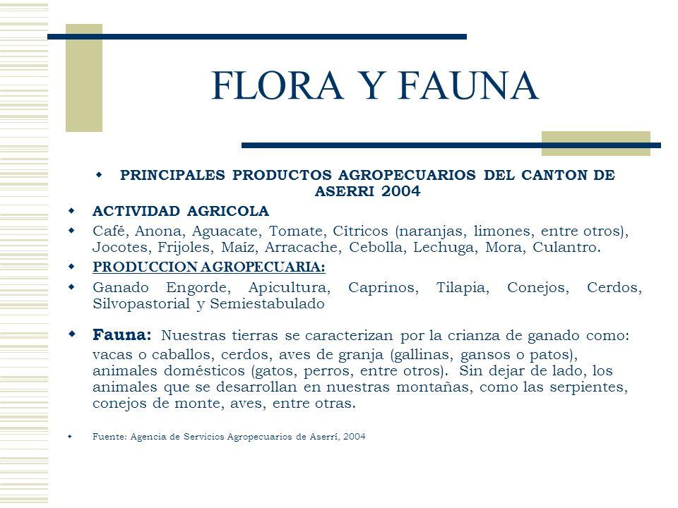 FLORA Y FAUNA PRINCIPALES PRODUCTOS AGROPECUARIOS DEL CANTON DE ASERRI 2004 ACTIVIDAD AGRICOLA Café, Anona, Aguacate, Tomate, Cítricos (naranjas, limo