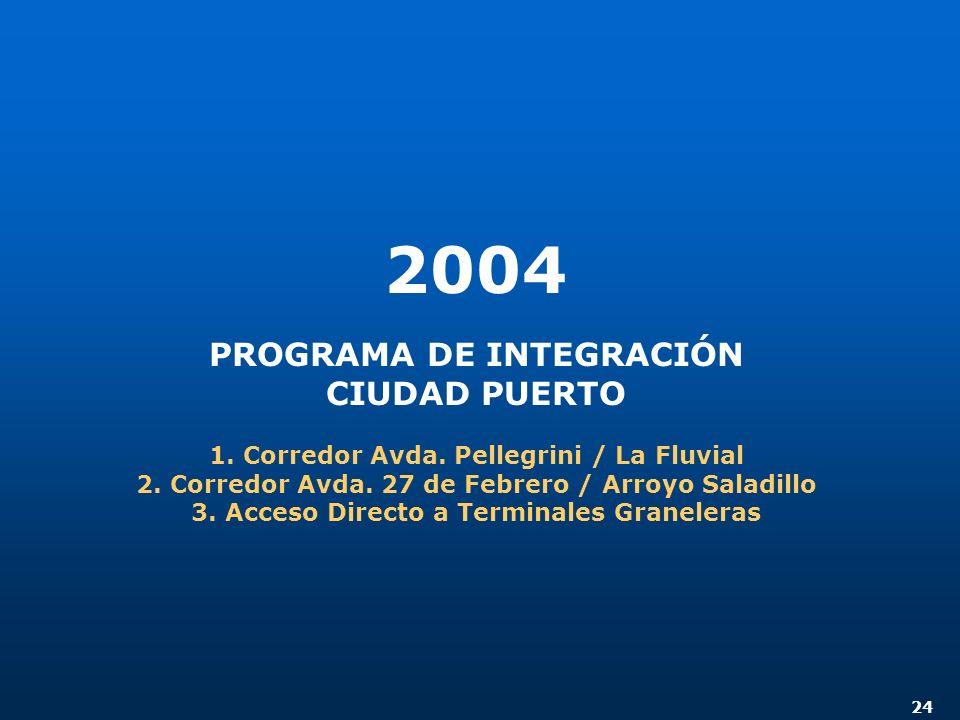 24 2004 PROGRAMA DE INTEGRACIÓN CIUDAD PUERTO 1. Corredor Avda. Pellegrini / La Fluvial 2. Corredor Avda. 27 de Febrero / Arroyo Saladillo 3. Acceso D