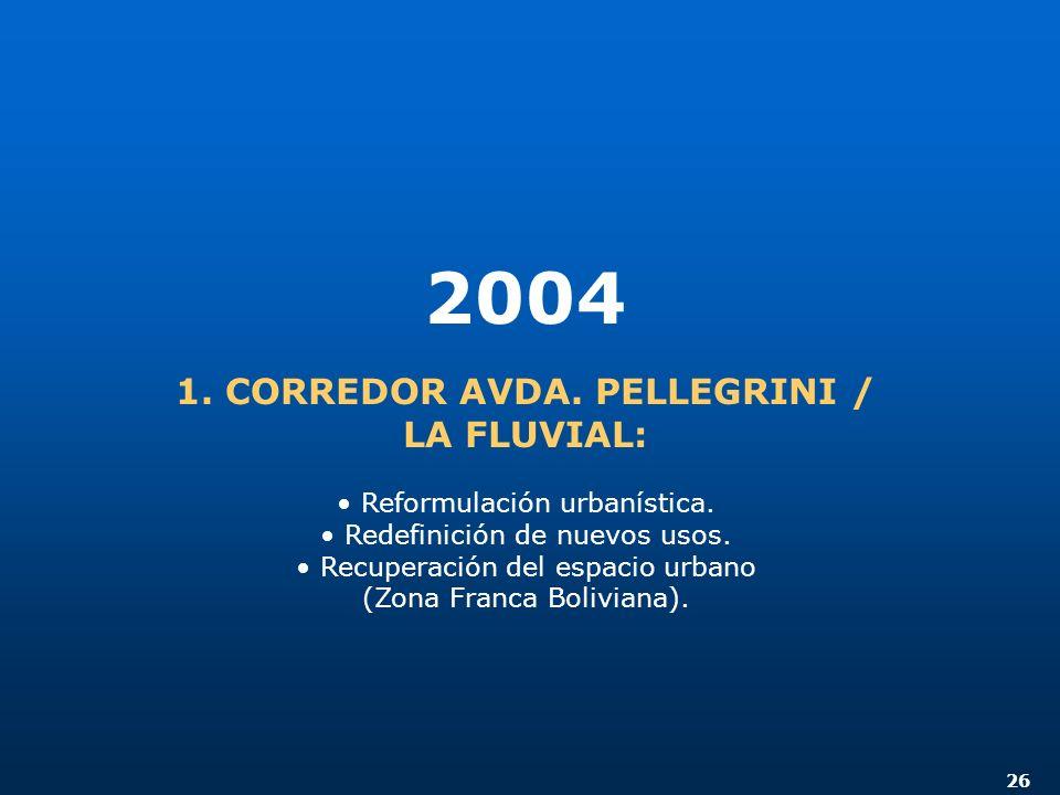 26 2004 1. CORREDOR AVDA. PELLEGRINI / LA FLUVIAL: Reformulación urbanística. Redefinición de nuevos usos. Recuperación del espacio urbano (Zona Franc