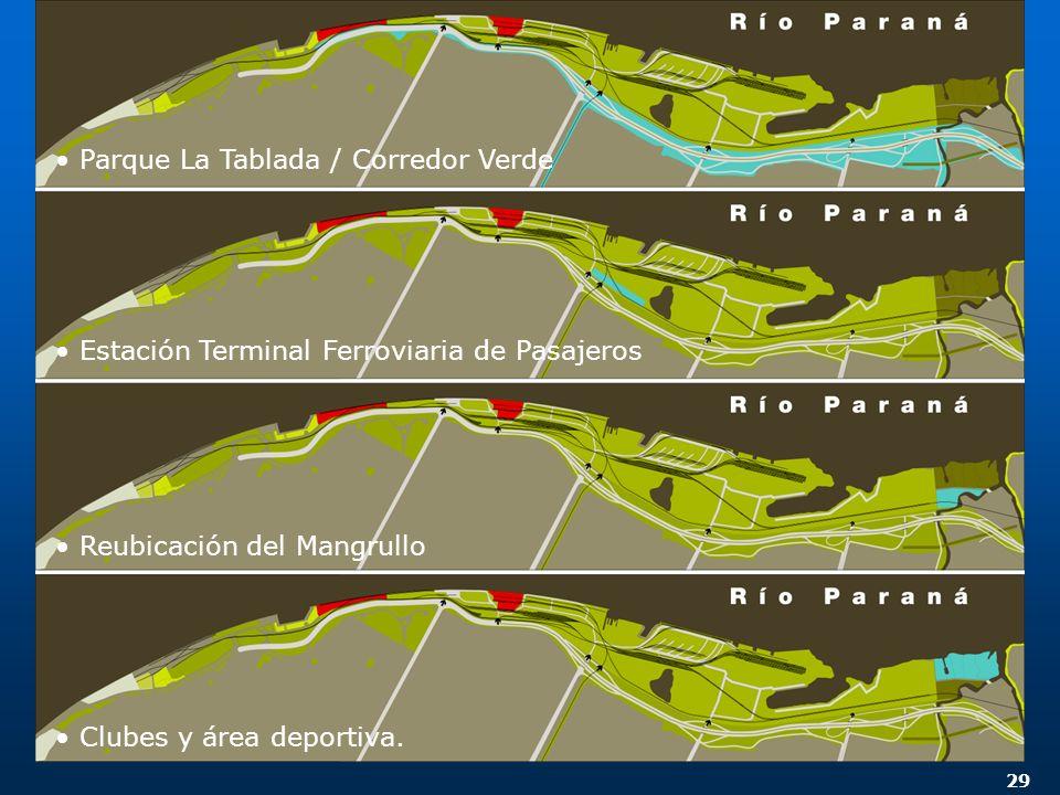 29 Parque La Tablada / Corredor Verde Estación Terminal Ferroviaria de Pasajeros Reubicación del Mangrullo Clubes y área deportiva.