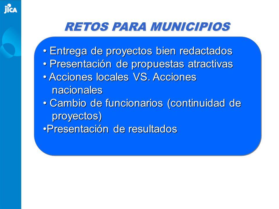 RETOS PARA MUNICIPIOS Entrega de proyectos bien redactados Entrega de proyectos bien redactados Presentación de propuestas atractivas Presentación de