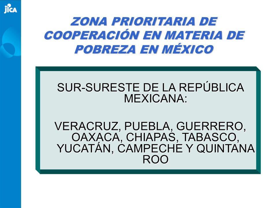 SUR-SURESTE DE LA REPÚBLICA MEXICANA: VERACRUZ, PUEBLA, GUERRERO, OAXACA, CHIAPAS, TABASCO, YUCATÁN, CAMPECHE Y QUINTANA ROO ZONA PRIORITARIA DE COOPE