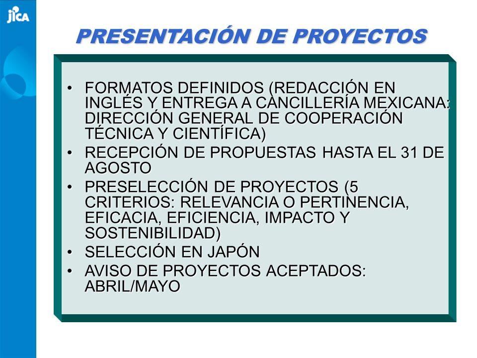 ACUERDO CONJUNTO MÉXICO- JAPÓN Japan-Mexico Partnership Programme (JMPP) Firma: octubre 16, 2003 Objetivos: Fortalecer la cooperación técnica bilateral, y ampliar la cooperación técnica conjunta hacia otros países en desarrollo, bajo una efectiva combinación de recursos humanos, tecnológicos y financieros mexicanos y japoneses Programas: Capacitación para Terceros Países (TCTP) Programa Conjunto de Capacitación (JTP) Envío de Expertos Mexicanos Seminarios conjuntos en terceros países Proyectos de cooperación técnica JAPAN-MEXICO PARTNERSHIP PROGRAMME JMPP