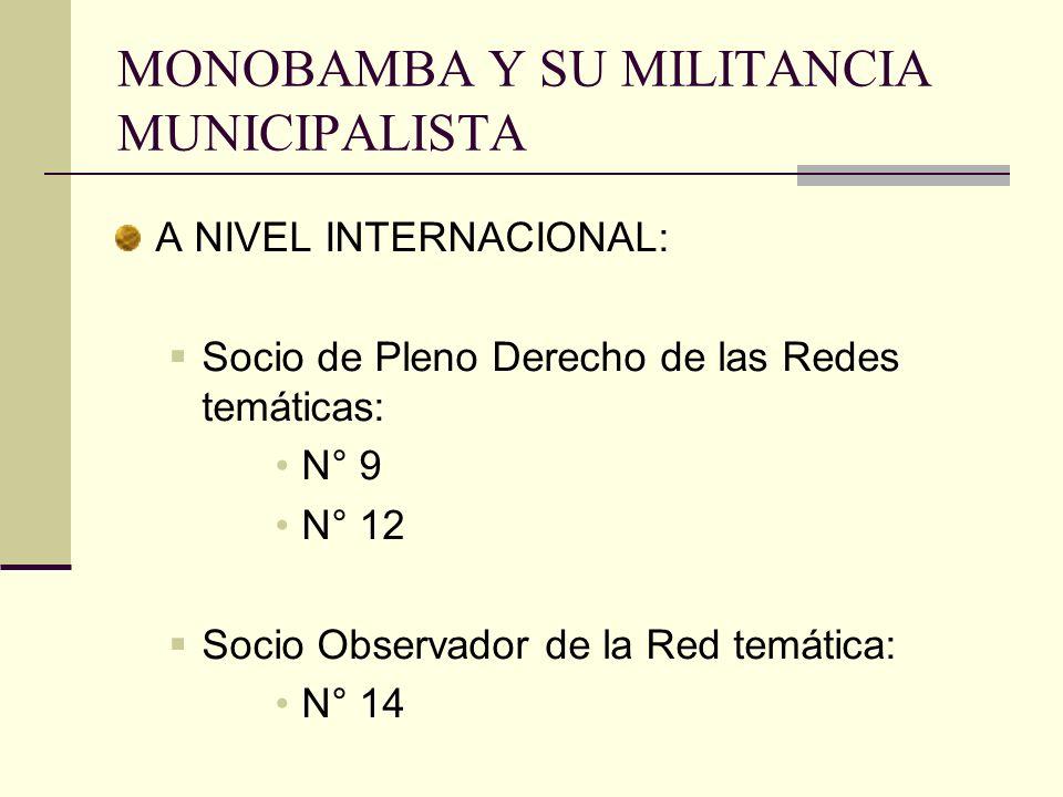 MONOBAMBA Y SU MILITANCIA MUNICIPALISTA A NIVEL INTERNACIONAL: Socio de Pleno Derecho de las Redes temáticas: N° 9 N° 12 Socio Observador de la Red te