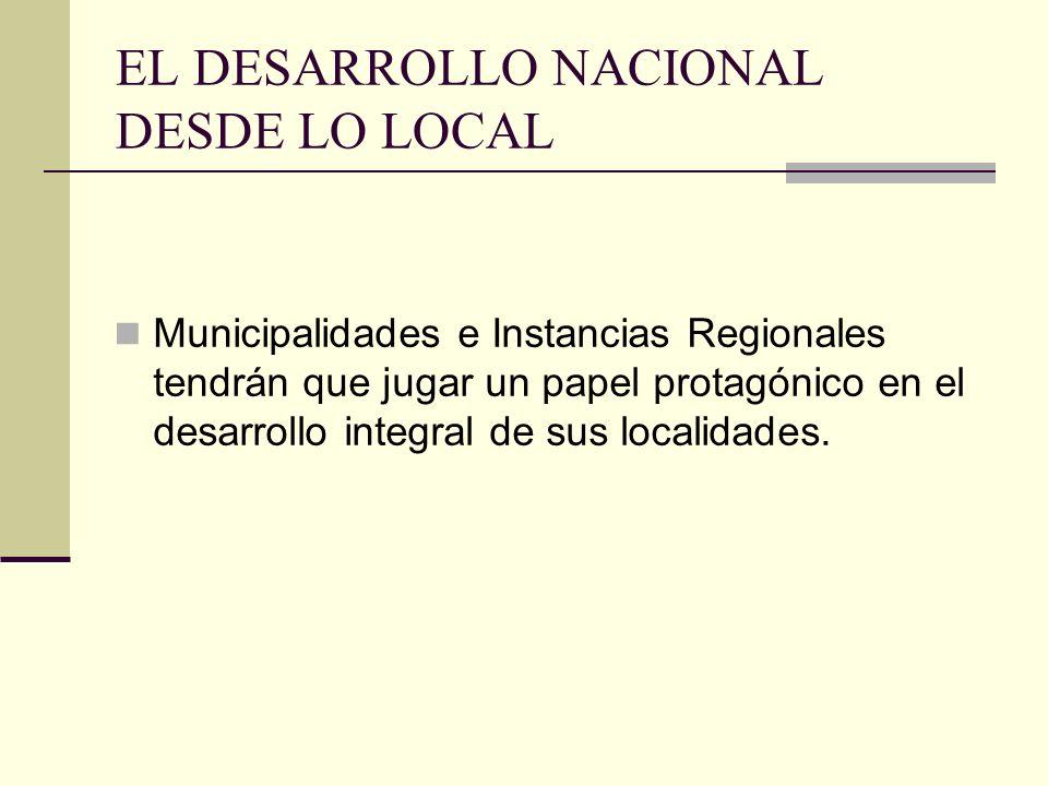 EL DESARROLLO NACIONAL DESDE LO LOCAL Municipalidades e Instancias Regionales tendrán que jugar un papel protagónico en el desarrollo integral de sus