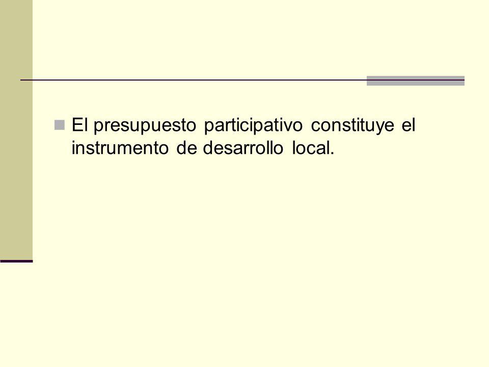 El presupuesto participativo constituye el instrumento de desarrollo local.